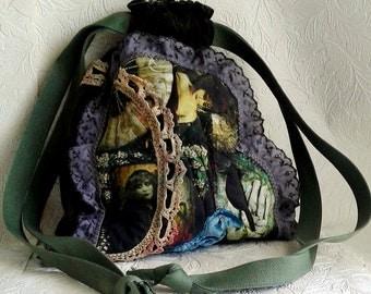 Loden Green Velvet Boho Wearable Art Handbag