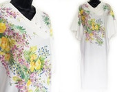 70s White with Floral Print Caftan Dress S M