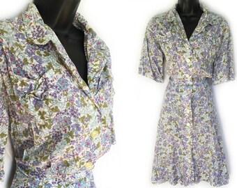 Vintage 50s White Green Purple Blue Floral Print Day Dress XL