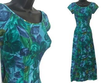 70s Blue Aqua Green Abstract Floral Print Cotton Hawaiian Maxi Dress with Train XS S