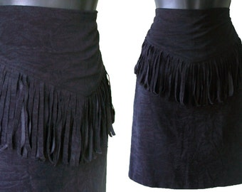 80s Black Faux Suede with Fringe High Waisted Mini Skirt XS S