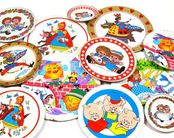 50s Tin Toy Tea Plates, Storybook characters set of 12, Instant Collection.