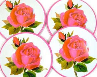 80s Tin Toy Tea plates, 4 Large hot pink & red roses.