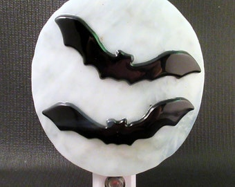 Fused Glass Halloween Flying Bats Dusk to Dawn LED Nightlight