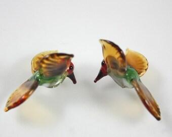 Lampwork Beads Glass Anna's  Hummingbird Miniature Bird Beads RC Art Glass Hand Made Lampwork