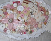Mixed Lot 150 Vintage Pink n Pretty+ Lacy White Button