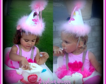 Ballet First Birthday Hat,  Ballerina First Birthday Hat,  2nd Birthday Hat,  You Choose Colors,      by GINGHAM BUNNY