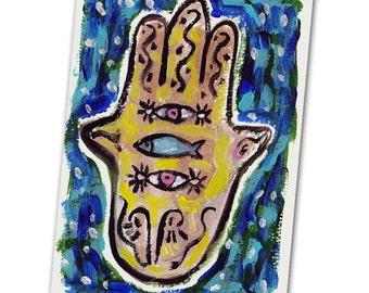 Hamsa Hand Card, Hamsa Hand with Two Eyes , Jewish Card, Jewish Art, Hand Painted Card, Hamsa Art, Fish Painting, Congratulations card