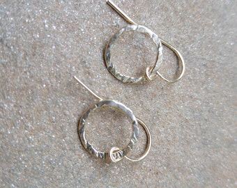 Hammered Gold Filled Rings on Gold Filled Ear Wires