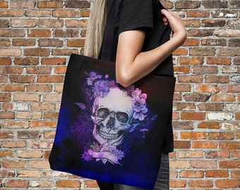 "Sugar Skull Tote Bag Over Sized 18"" x 18"" Purple Twilight"