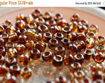 10% off AMBER SEED BEAD No. 1 .. Glossy Picasso Czech Glass Seed Beads Size 6 (4647-g)