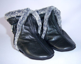 New black lamb leather boots, toddler winter boots, baby winter boots, toddler booties
