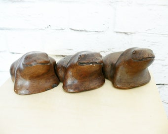 Set 3 Vintage Frog Toad Pottery Figurines Brown Candle Holders Hand Made Garden Outdoor