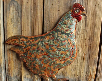 Hen - large copper metal chicken bird fowl sculpture - wall hanging - with verdigris blue-green patina - OOAK