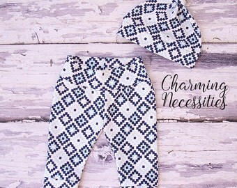 Baby Boy Pants, Baby Boy Clothes, Coming Home Outfit, Baby Shower Gift, Pastel Posies Aztec Diamonds Newborn Infant Leggings and Hat Set