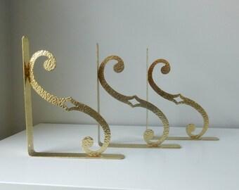 Hammered Brass Shelf Brackets