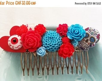 ON SALE Red Blue Day of the Dead Sugar Skull Cluster Hair Comb - Fascinator Kitschy CoolOffbeat Wedding Bride Horror Gore Tattoo Inspired