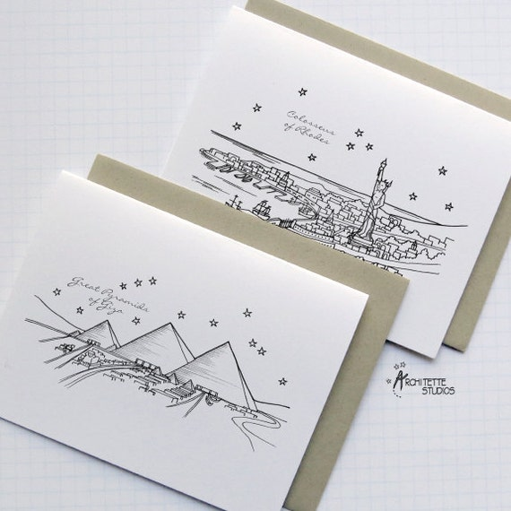 Seven Ancient Wonders of the World - City Skyline Series - Folded Cards (8)