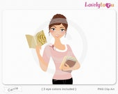 Woman reading book, holding books, character clipart digital PNG clip art (Carrie 633)