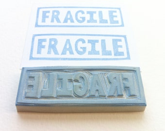 fragile hand carved rubber stamp, handmade rubber stamp