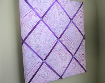 "16""x20"" Purple Paisley French Memory Board, Bow Holder, Bow Board, Vision Board, Photography Display, Ribbon Board, Dream Board,"