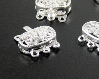 Box Clasp 10 Brass Shiny Silver Clasps Bright Square Flower Victorian 3-Strand 15mm x 9mm x 6mm (1044cla15s1)xz