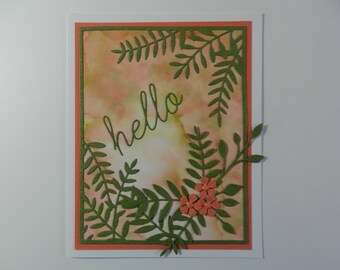 Handmade Greeting card Hello peach  and green with flowers