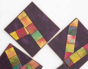 Purple Coasters - Handmade Paper - Mosaic Tiles - Colorful Abstract - Masculine Gift - Housewarming Gift - Painted Paper