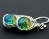Love Knot Wire Wrapped Earrings Crackle Glass