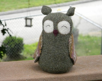 Upcycled Owl Made from Felted Sweater