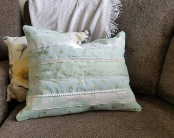 Gilded Rose Mint Green and Cream Quilted Pillow Cover Set of 2