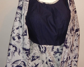 Vintage 50s novelty print cotton day dress and shawl L XL