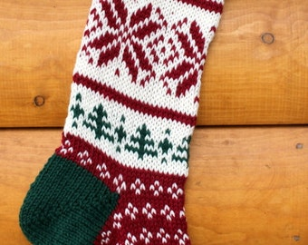 Hand Knit Christmas Stocking Snowflakes and Trees