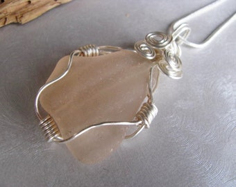Wire Wrapped Rare Pink Sea Glass Statement Pendant  - Beach Glass Pendant - Sea Glass - Beach Glass Jewelry
