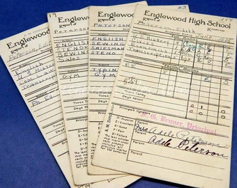 Vintage Report Cards 1930's Englewood High School Chicago Collectible Paper Historical Ephemera Art & Craft Projects Scrapbooking Crafts