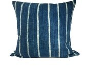 Vintage African Striped Indigo Mudcloth Pillow 20"