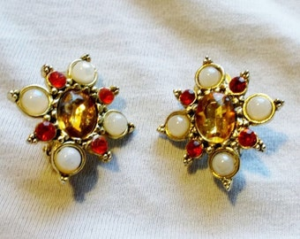 Clearance 1960's Vintage Rhinestone and Faux Pearl Earrings Orange and Gold Clip Ons