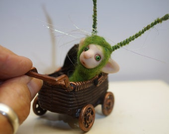 ooak poseable  tiny new born baby bug fairy in a buggy   ( # 3 ) polymer clay art doll by DinkyDarlings elf pixie faery