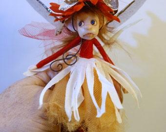 ooak poseable little red head w/ acorn hat ( #6 ) pixie FAIRY elf polymer clay art doll by DinkyDarlings