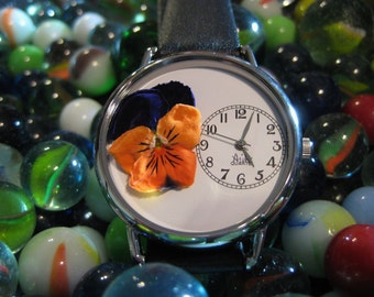 Purple Pansy Women Watches, Orange Pansy Flower Watch, Women's Watch, Watch for Women, Pressed Flower Watch With Leather Band, Pansy Watch