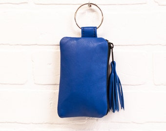 recycled periwinkle blue leather keychain, wallet, coin purse, key ring, pouch, leather tassel, card holder, handmade, upcycled, stacylynnc