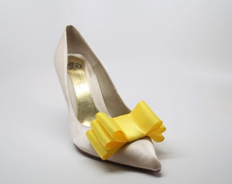 Yellow Satin Ribbon Bow Shoe Clips Set Of Two, More Colors Available
