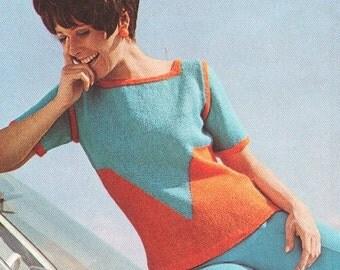 SALE Vintage 1970s Chevron Pullover Knitting Pattern PDF 7016