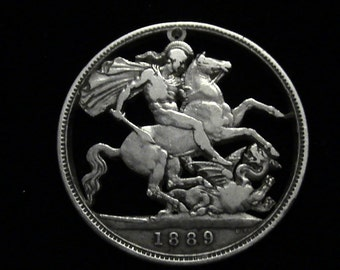 GREAT BRITAIN - cut coin masterpiece -  St. George Slaying the Dragon - 1889