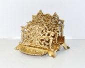 Vintage Brass Ornate Desktop Letter Holder