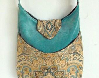 Tapestry Gypsy Bag Messenger Bag Bohemian Light Teal large bag renaissance bag messenger bag medieval bag