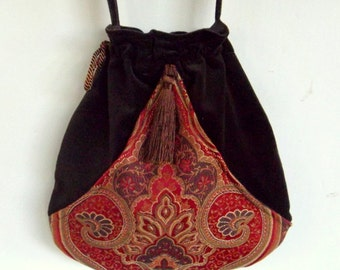 Brown Vevet Boho Tassel Bag  Red Pocket Boho Bag Tapestry  Drawstring Bag   Bohemian Bag  Crossbody Purse
