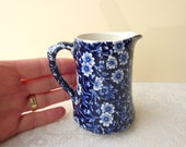 Mini Vintage Burleigh Calico Cobalt Blue and White Milk Jug / Creamer - 1/4 Pint Capacity