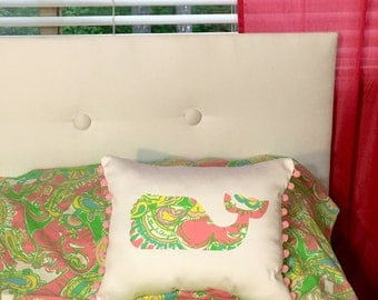 New custom Made To Order Whale Pillow made with Lilly Pulitzer Chin Chin Sparkle fabric