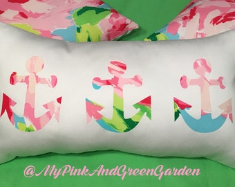 New Made To Order custom Anchor trio Pillow made with Your Choice of over 30 new AUTHENTIC Lilly Pulitzer fabrics
